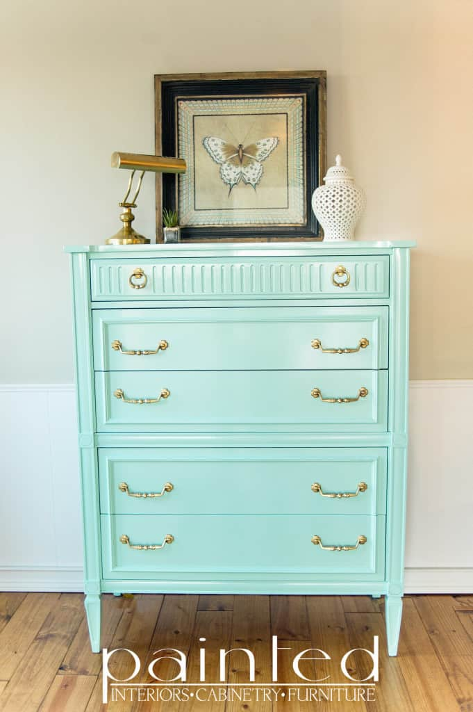 American of Martinsville Chest of Drawers Benjamin Moore Copper Patina High Gloss Enamel Paint