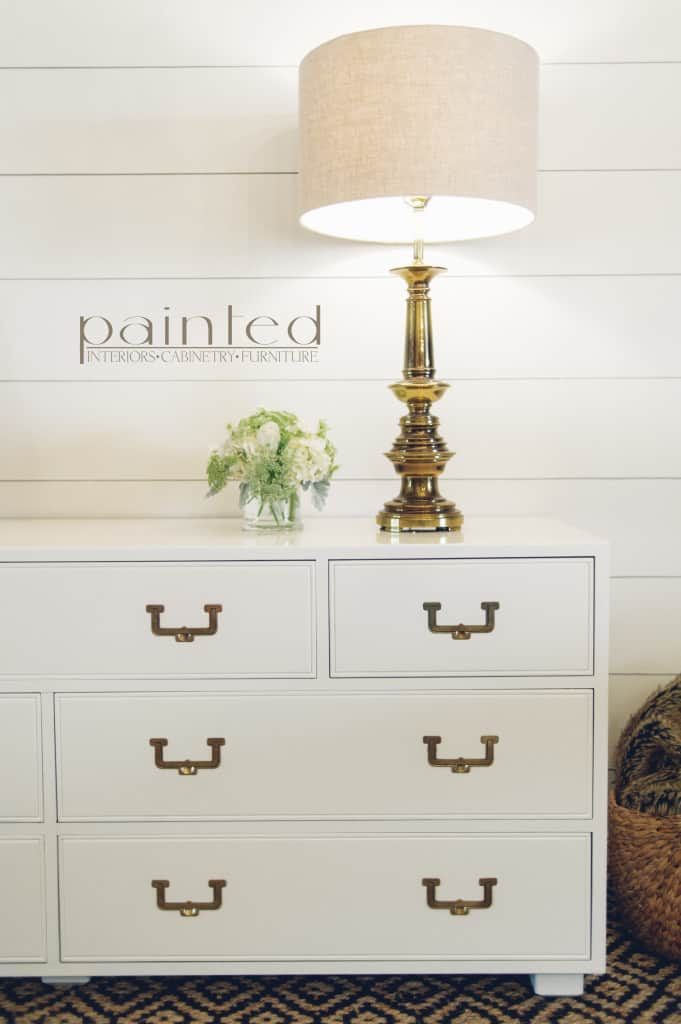 Vintage Henredon Artefacts Campaign dresser with brass hardware painted with high gloss oil enamel Fine Paints of Europe Hollandlac Brilliant in Benjamin Moore White Dove shiplap walls