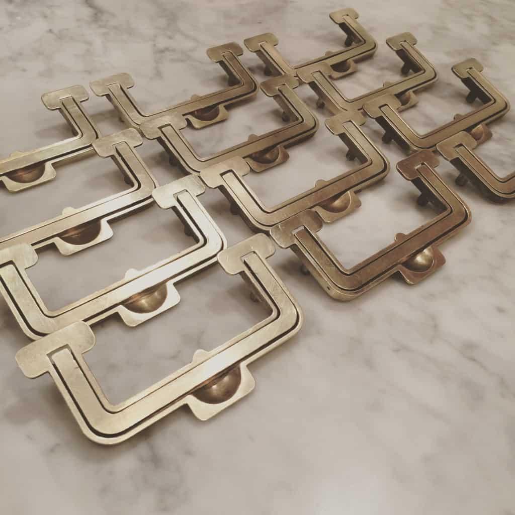 Vintage brass campaign hardware from Henredon Artefacts Dresser