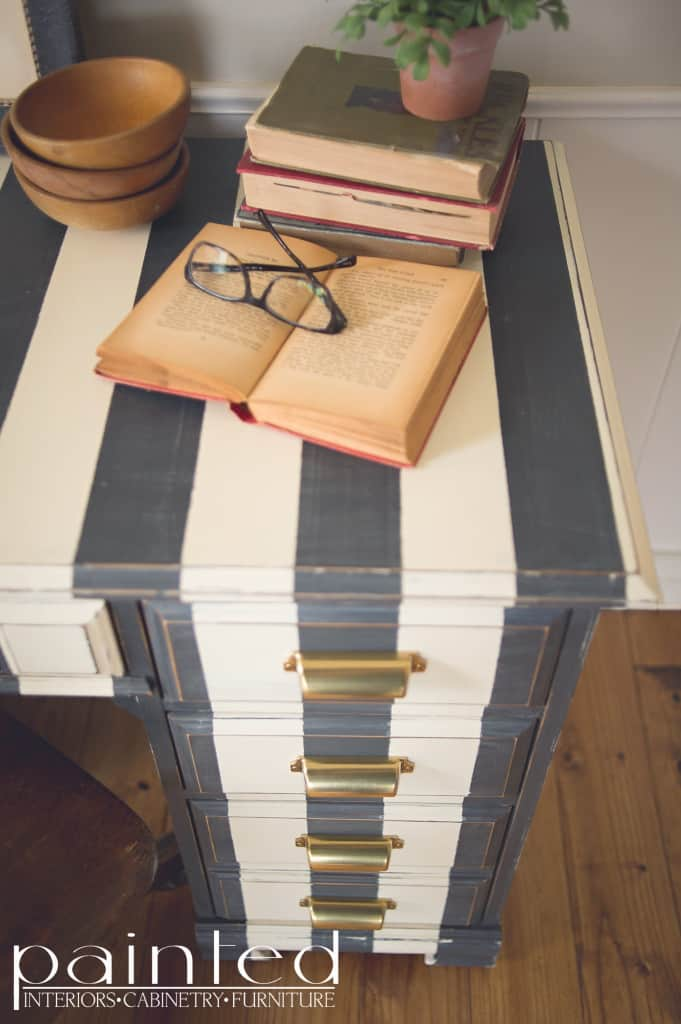 Striped desk in Annie Sloan Chalk Paint Graphite and Old White