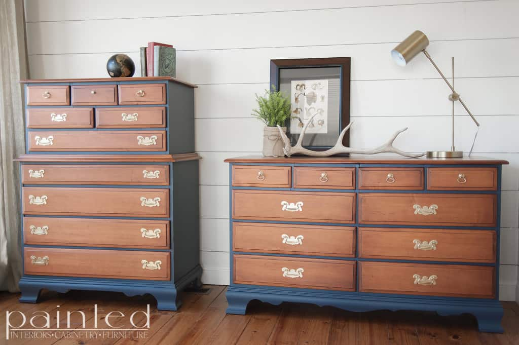 Genial Two Tone Chest Of Drawers In Java Gel And Hale Nav