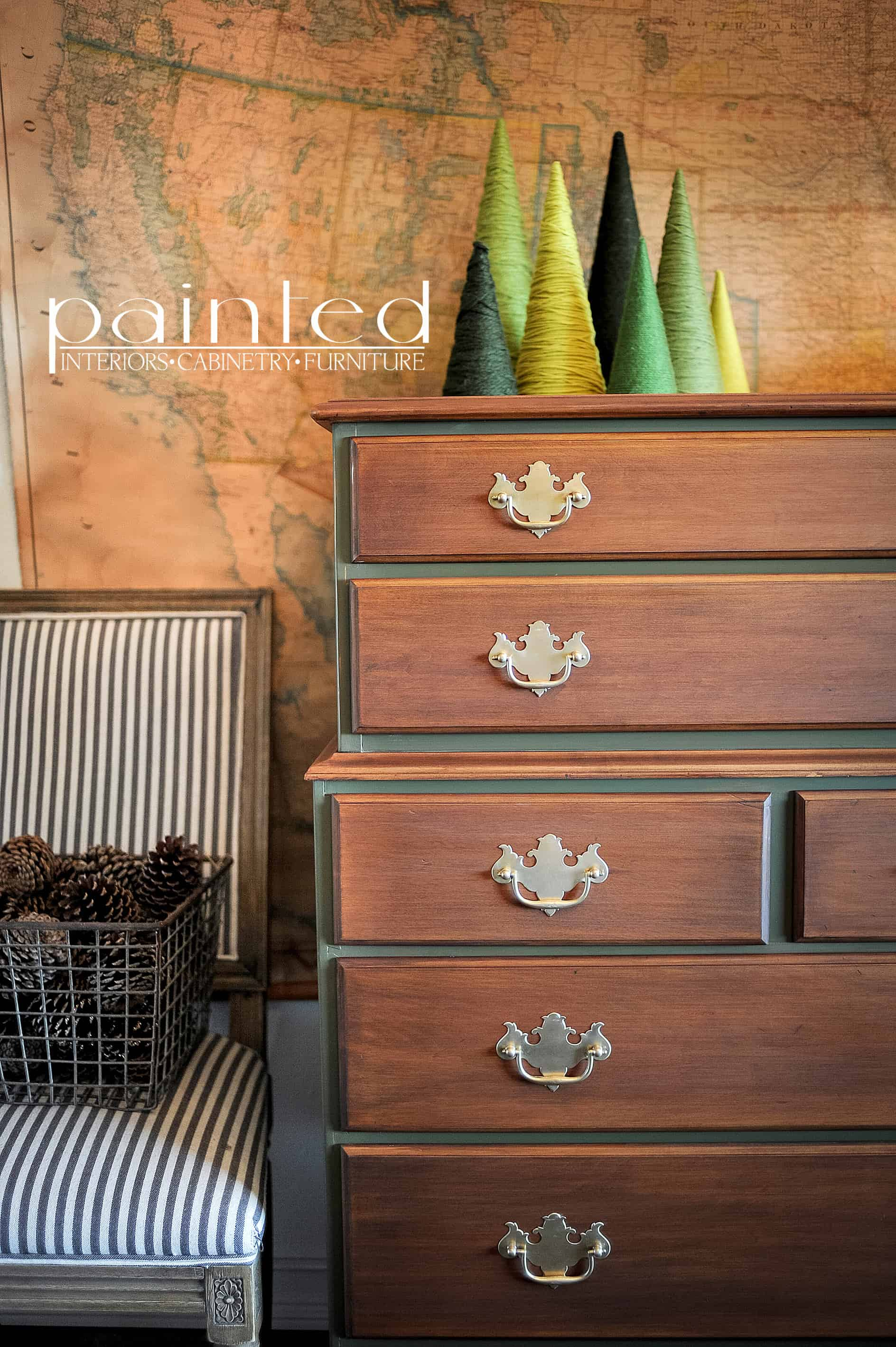 Two Tone Tallboy Painted In Annie Sloan Chalk Paint Olive