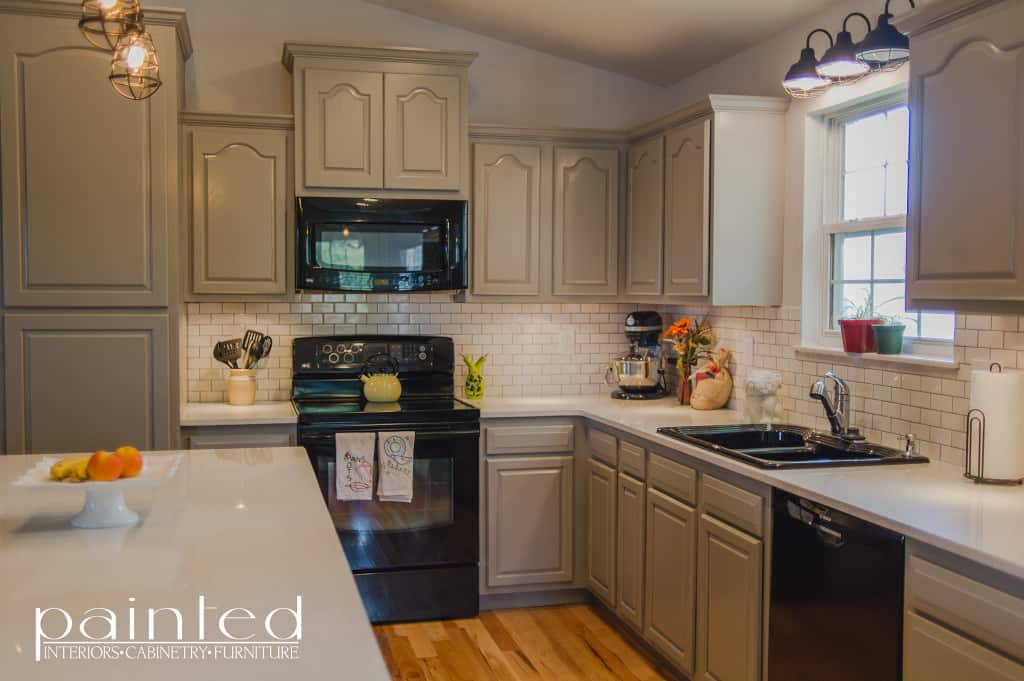 Kitchen Cabinets in Old Monterey Gray - Painted by Kayla Payne