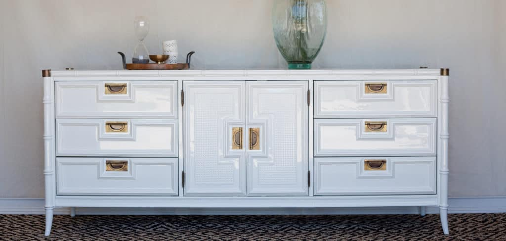 Stanley Faux Bamboo Dresser in White Dove - Painted by Kayla Payne