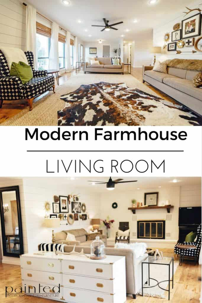 Blog post with BEFORE&AFTER photos of a Modern Farmhouse Living Room