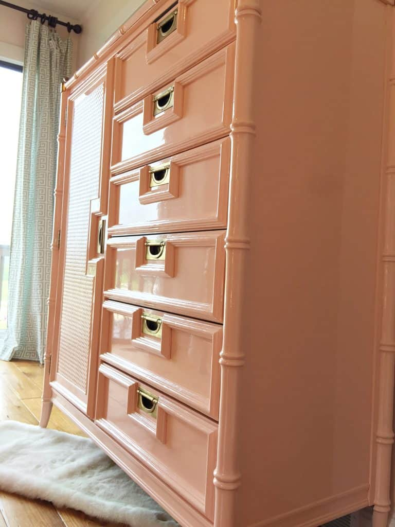 Stanley Faux Bamboo Tallboy painted in Fine Paints of Europe Hollandlac Brilliant