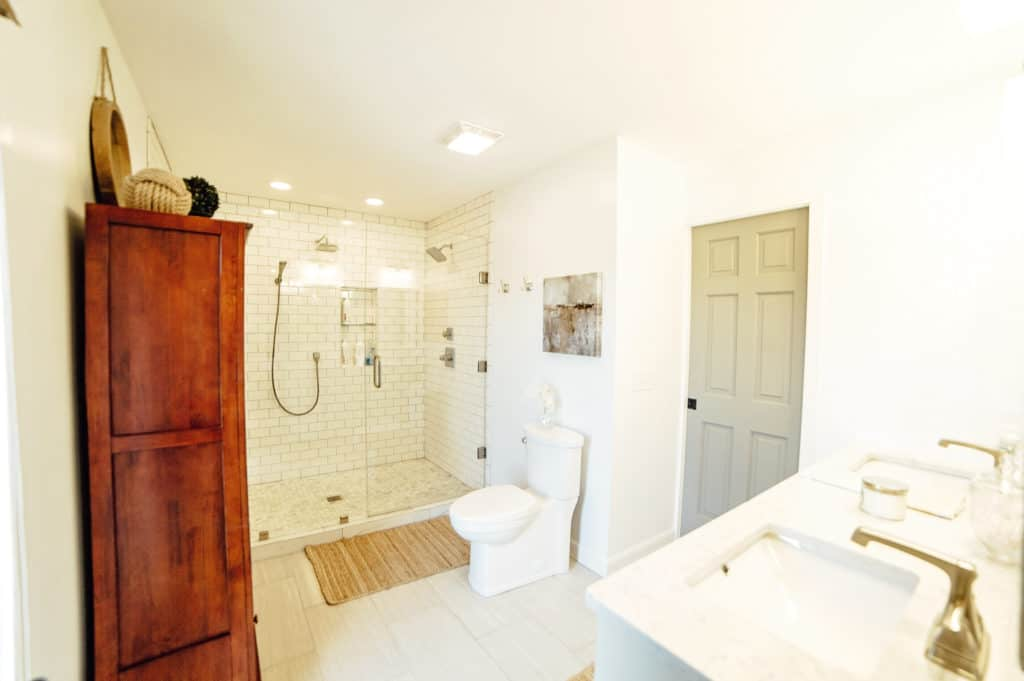 Master Bathroom Remodel with walk in subway tile shower