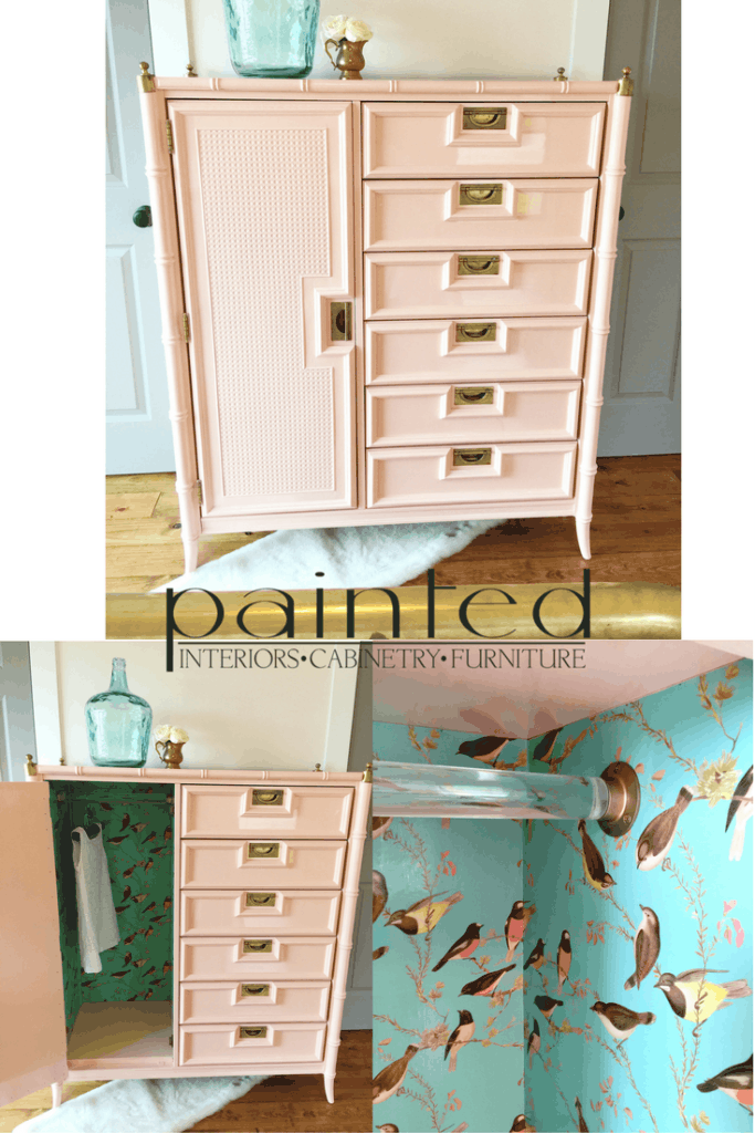 Pretty in Peach! This faux bamboo chest of drawers painted in high gloss is the perfect addition to a little girl's room!