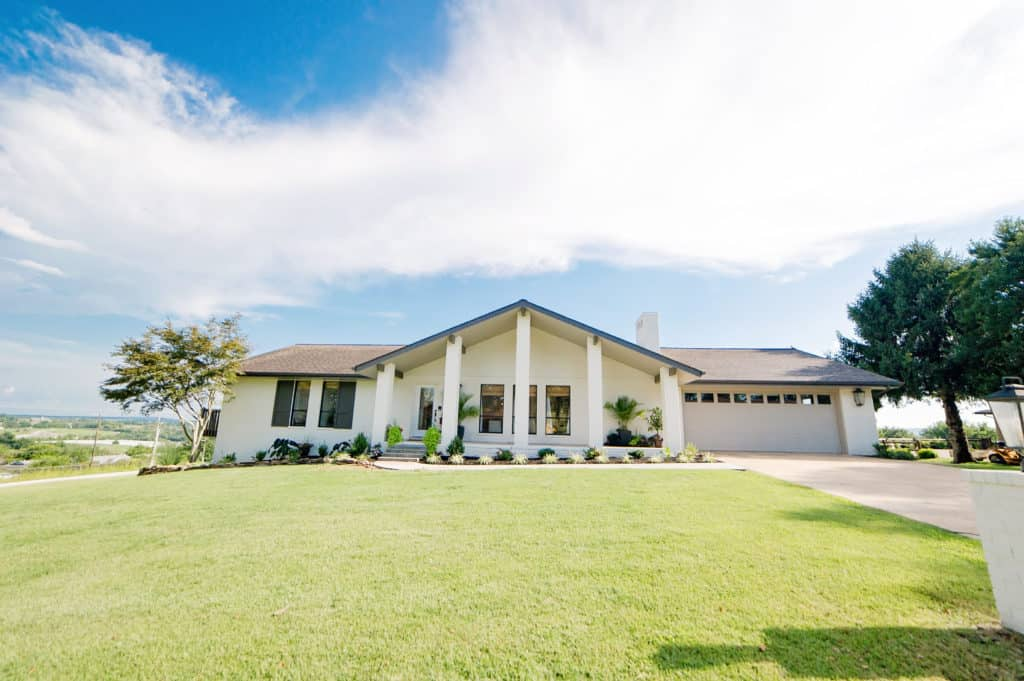 Beautifully renovated painted brick, ranch style house.