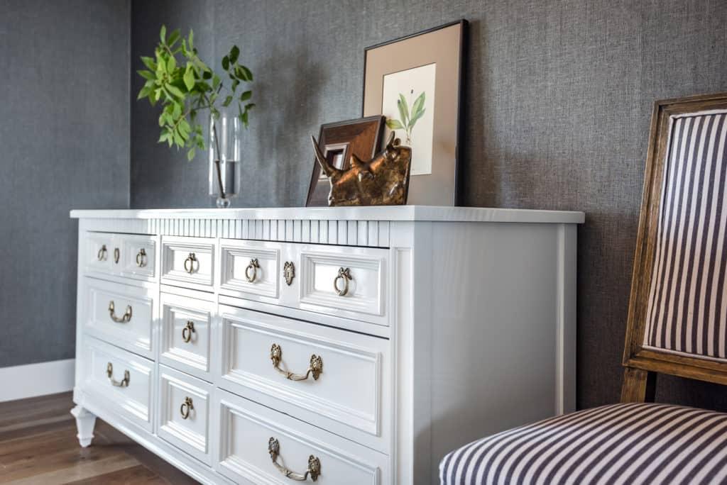 White glossy vintage Thomasville Dresser