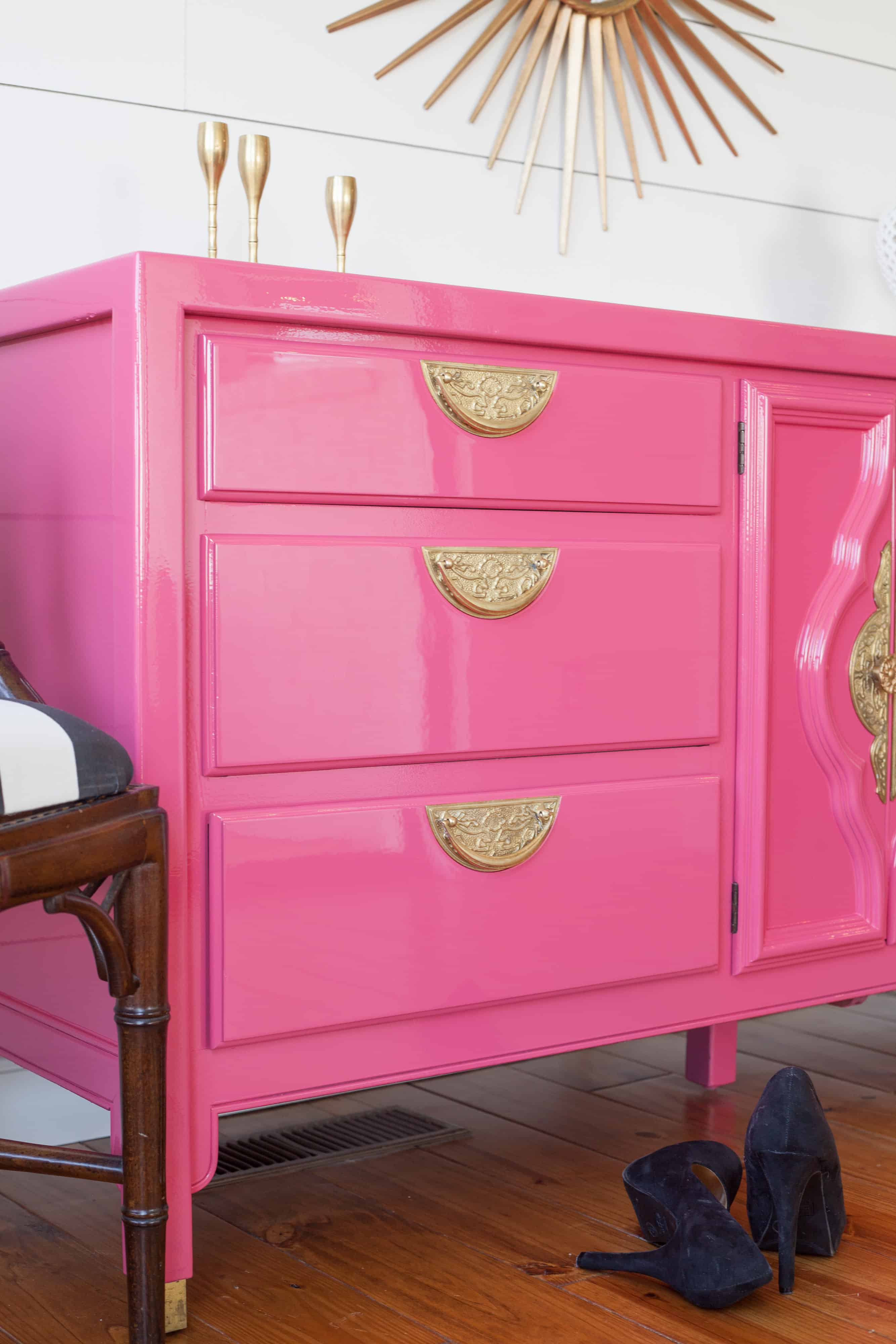 Pink Bedroom Dresser Asian Style Century High Gloss