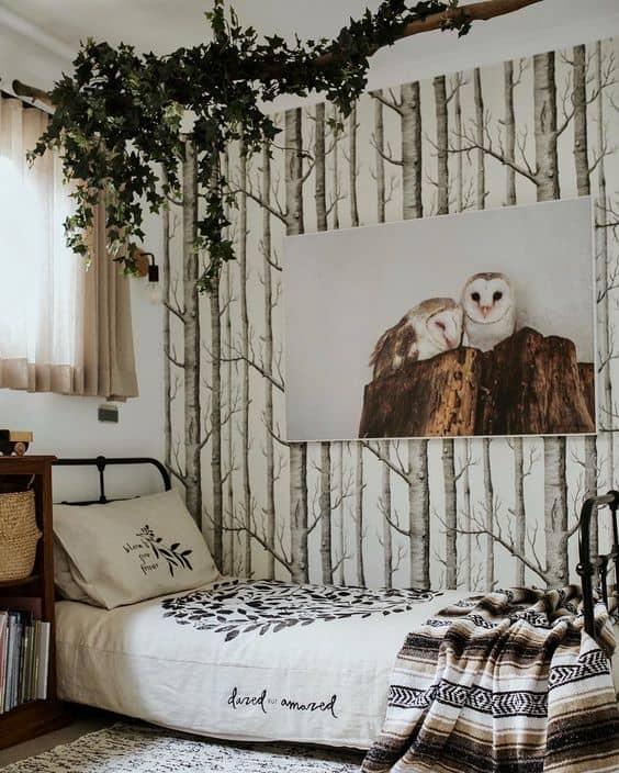 Birch tree wallpaper. Room by Sophie Vine