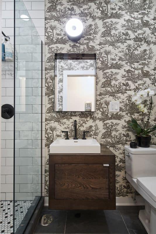 Black and White Toile wallpaper in modern bathroom
