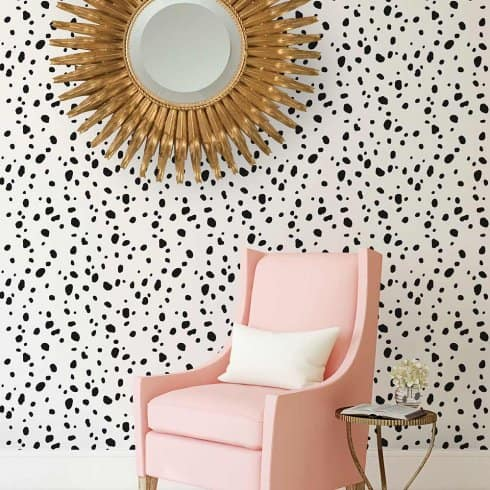 Dalmation dot stencil instead of expensive wallpaper.