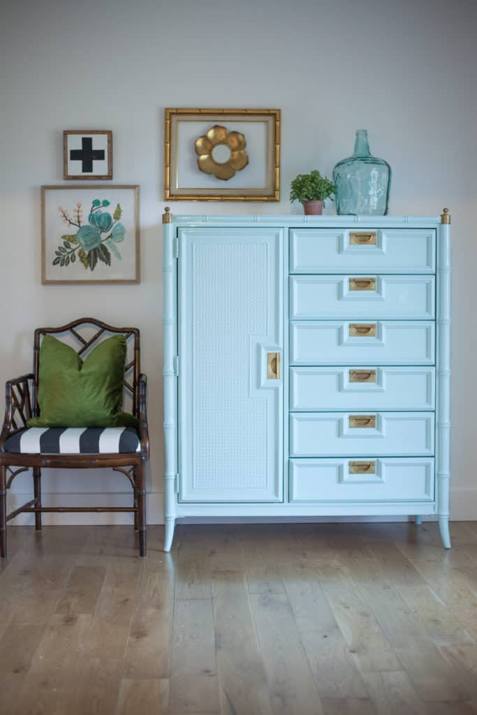 Glossy faux bamboo chest of drawers made by Stanley furniture lacquered in gorgeous shade of aqua with brass campaign hardware