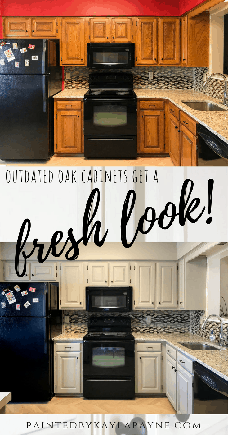 Outdated Oak Cabinets Get A Fresh Look Painted By Kayla Payne