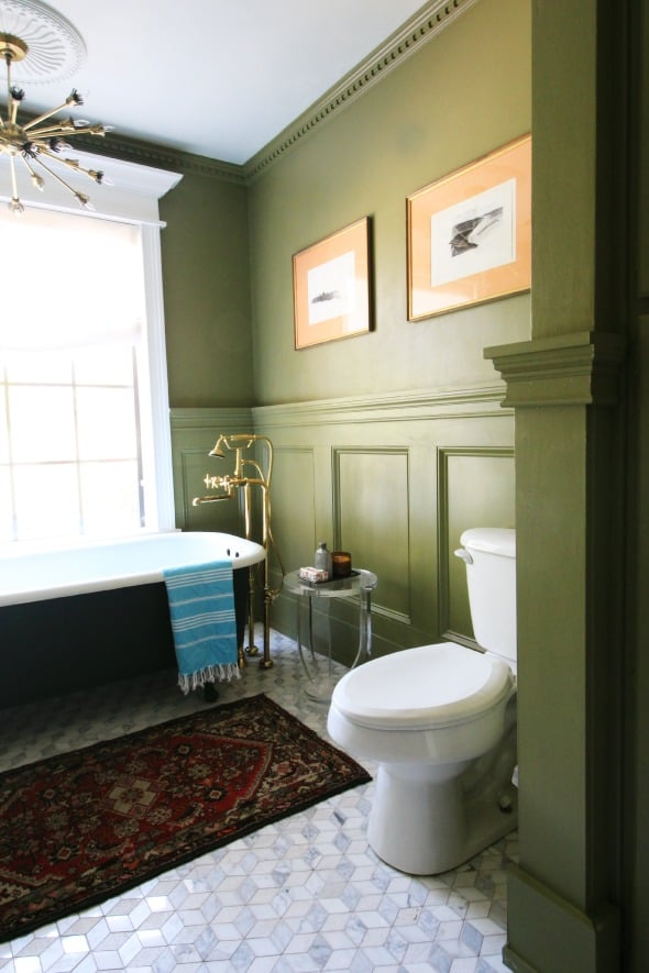 Olive green bathroom by Jenny Komenda of Little Green Notebook