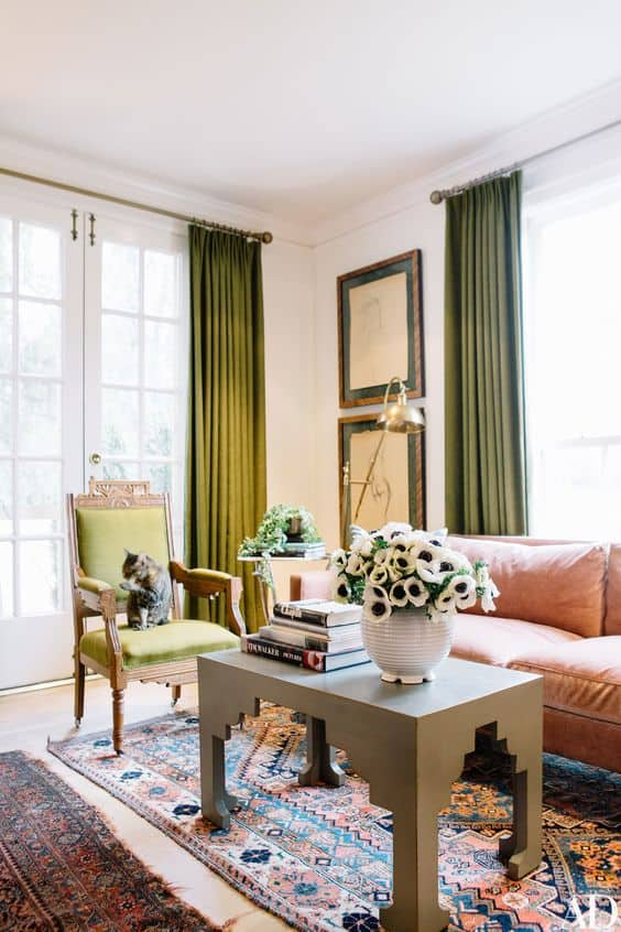Olive drapes in living room