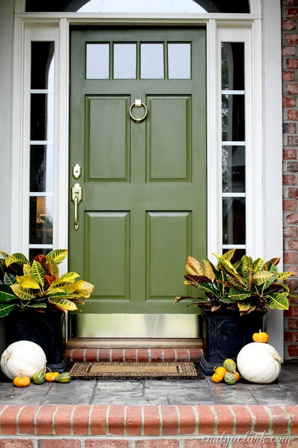 Olive front door with brass door knocker by Emily A Clark