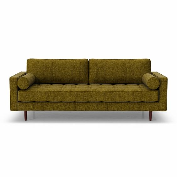 Mid century modern style sofa in olive green