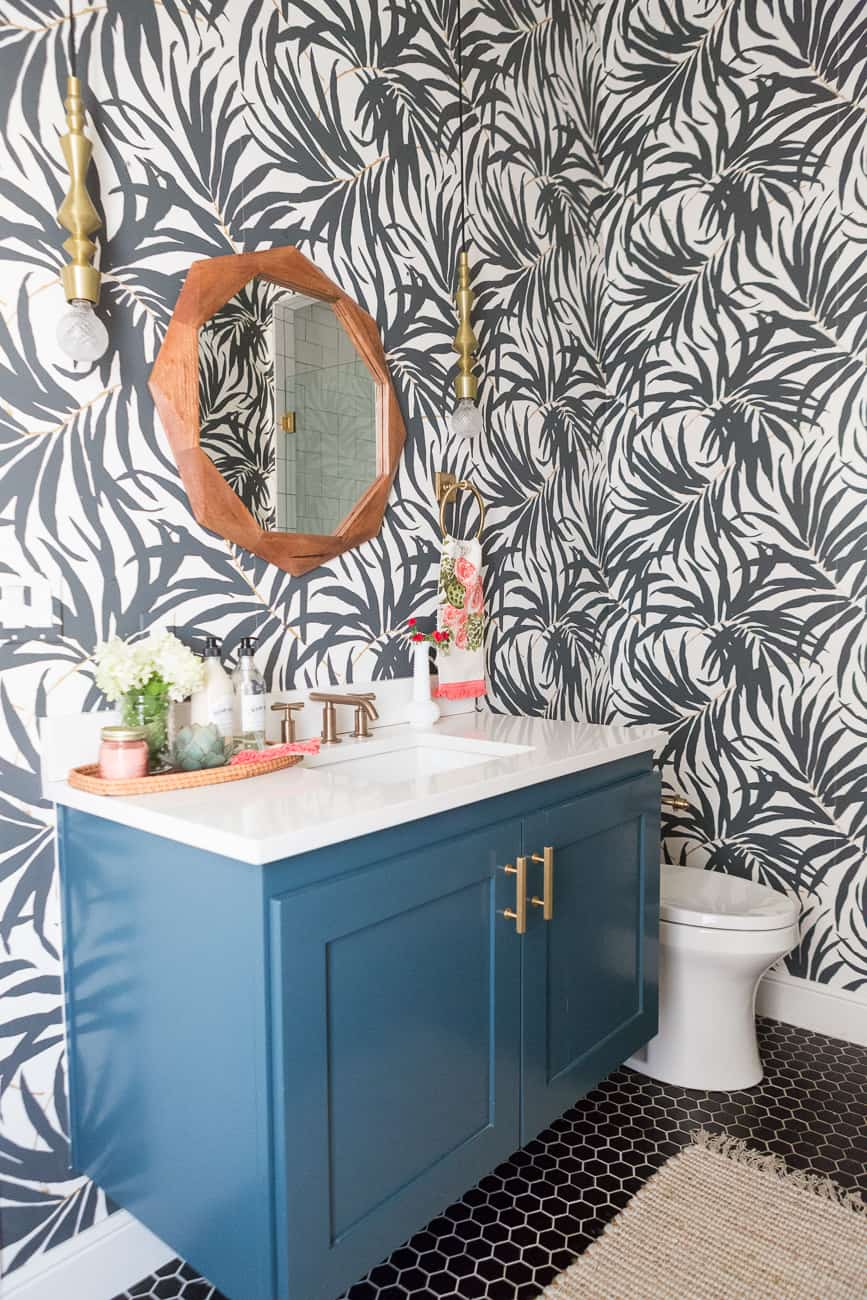 CC and Mike's pool bathroom reveal with fabulous black and white leaves wallpaper!