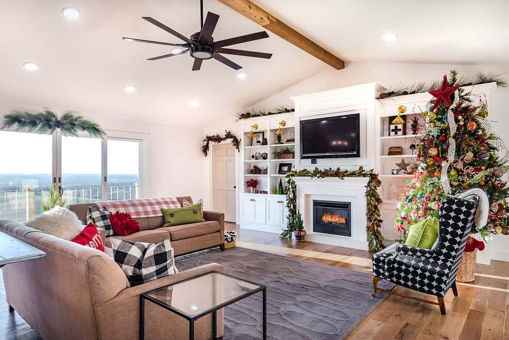 Holiday Home Tour Living Room dressed for Christmas