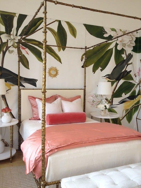 How fun is this bold floral print in this uber chic bedroom! Hollywood regency style brass bed rounds out this designer chic look!