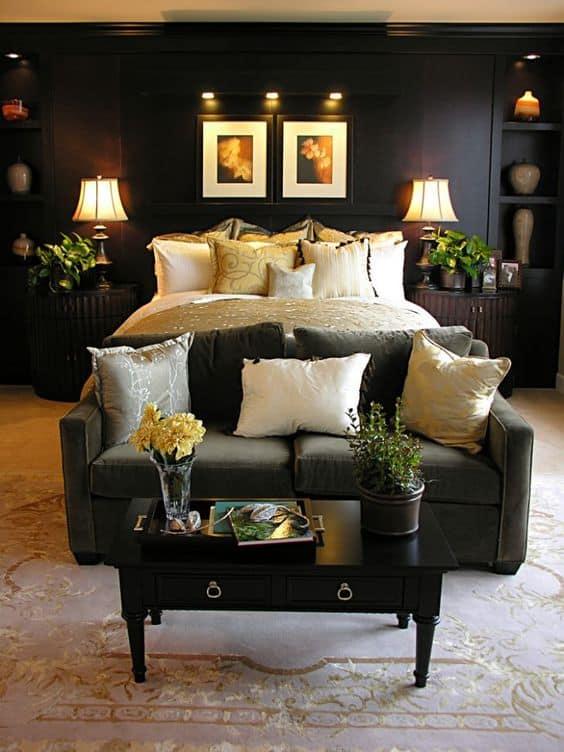 Black bedroom walls create the most indulgent and elegant bedroom!