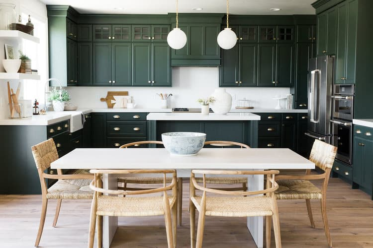 Dark green cabinets in this kitchen designed by Studio McGee is so GOOD!!  Darker cabinets colors will be all the rage in 2018!