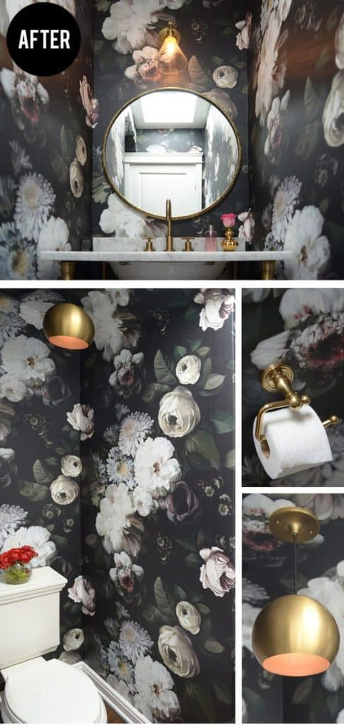 Bold floral wallpaper transforms this powder room in the best possible way!