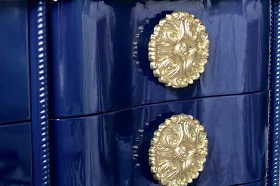 High gloss navy dresser in Fine Paints of Europe Hollandlac Brilliant