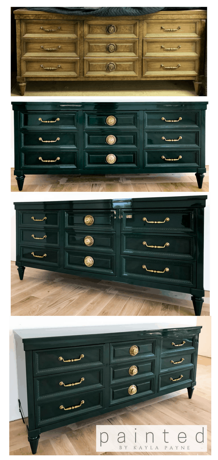 Genial Before And After Vintage American Of Martinsville Dresser. High Gloss Dark  Green