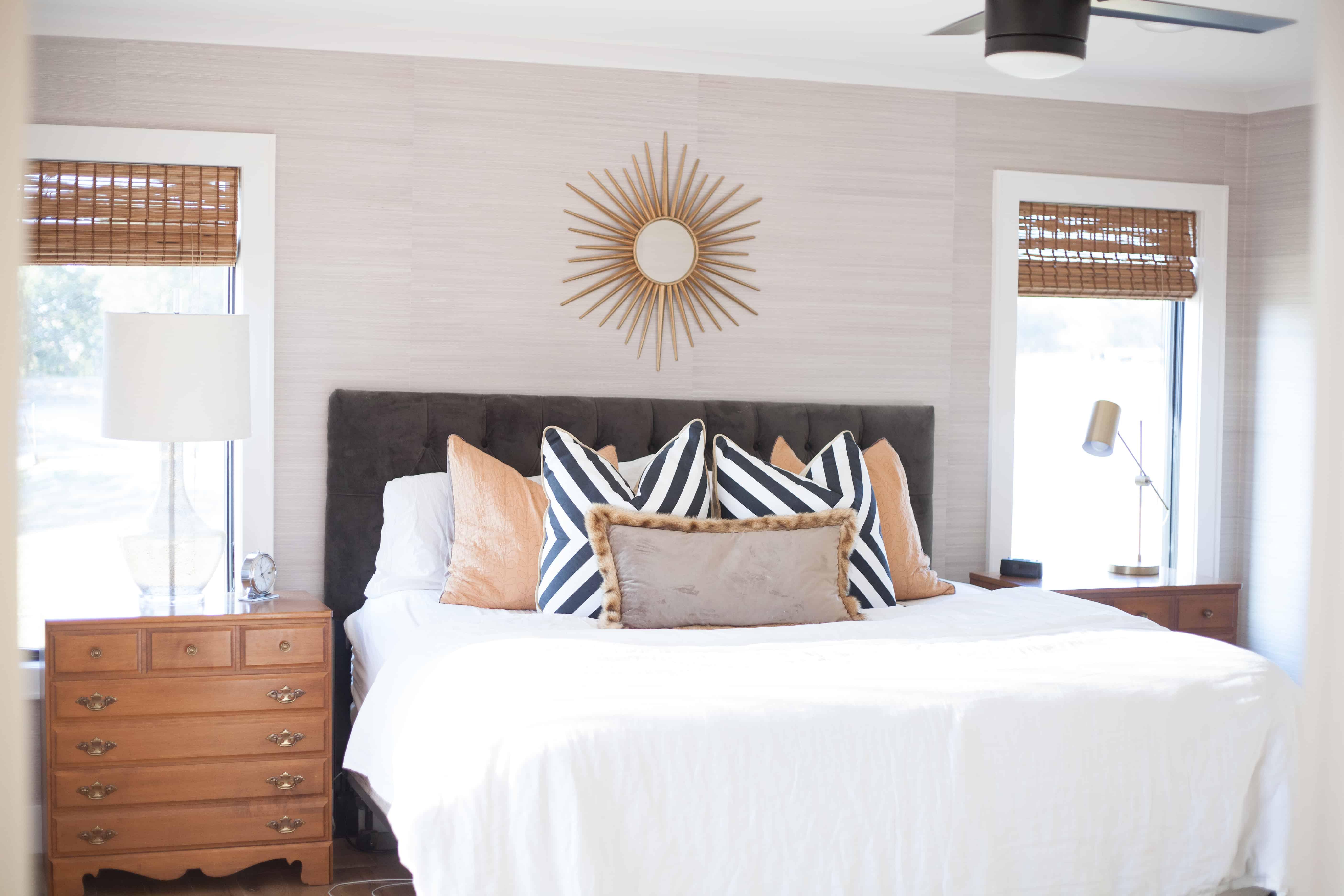 Grasscloth Wallpapered Master Bedroom Joanna Gaines