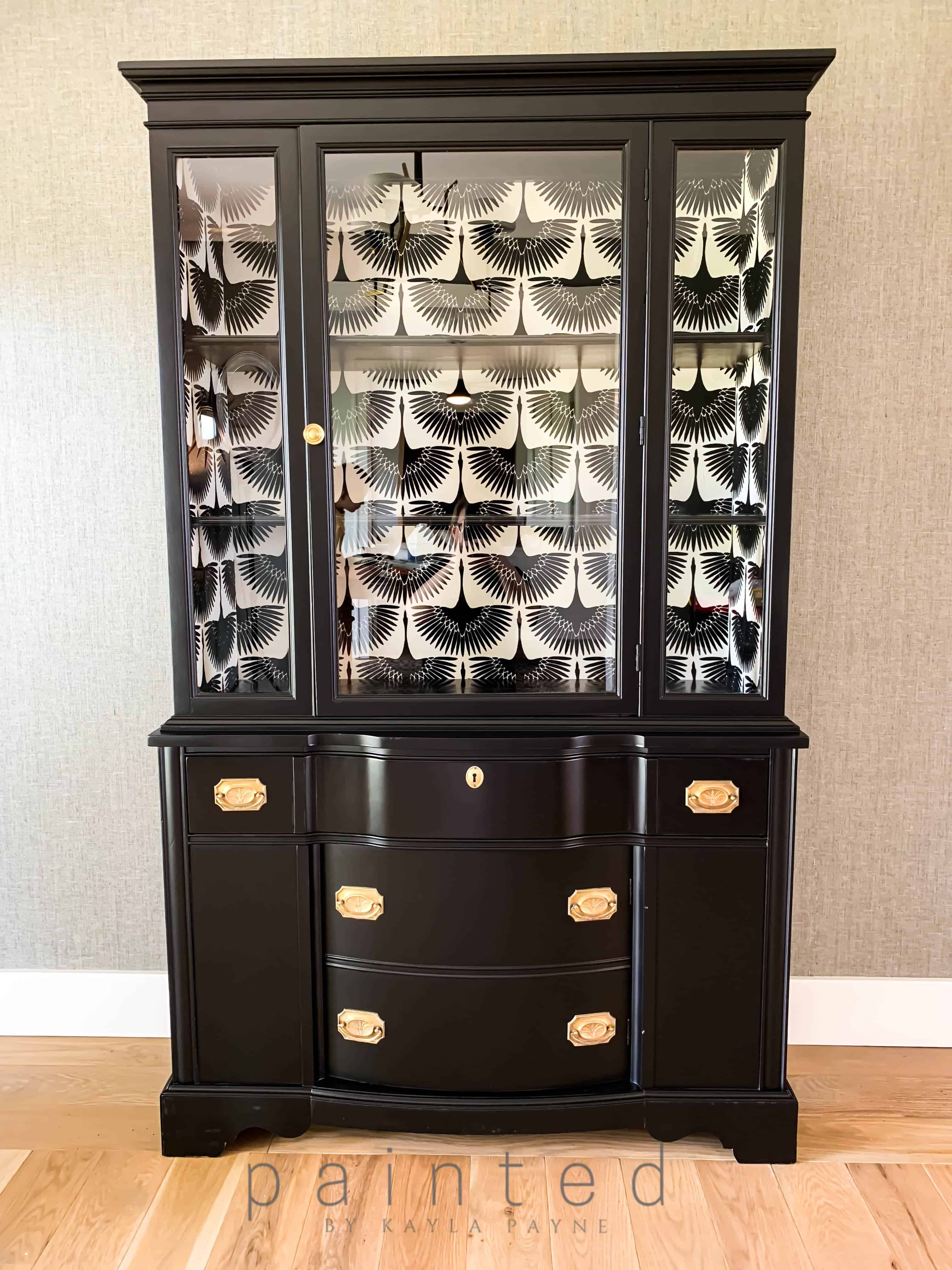 Black Painted China Cabinet Painted By Kayla Payne