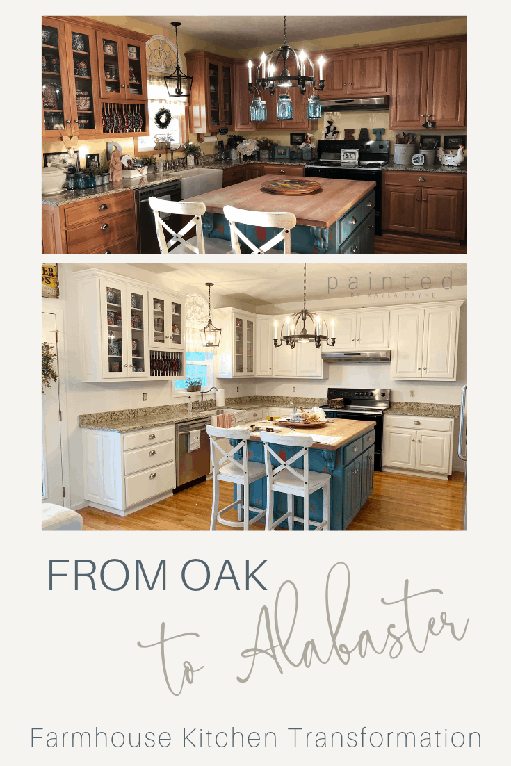 From Oak To Alabaster - Kitchen Cabinet Facelift - Painted ...