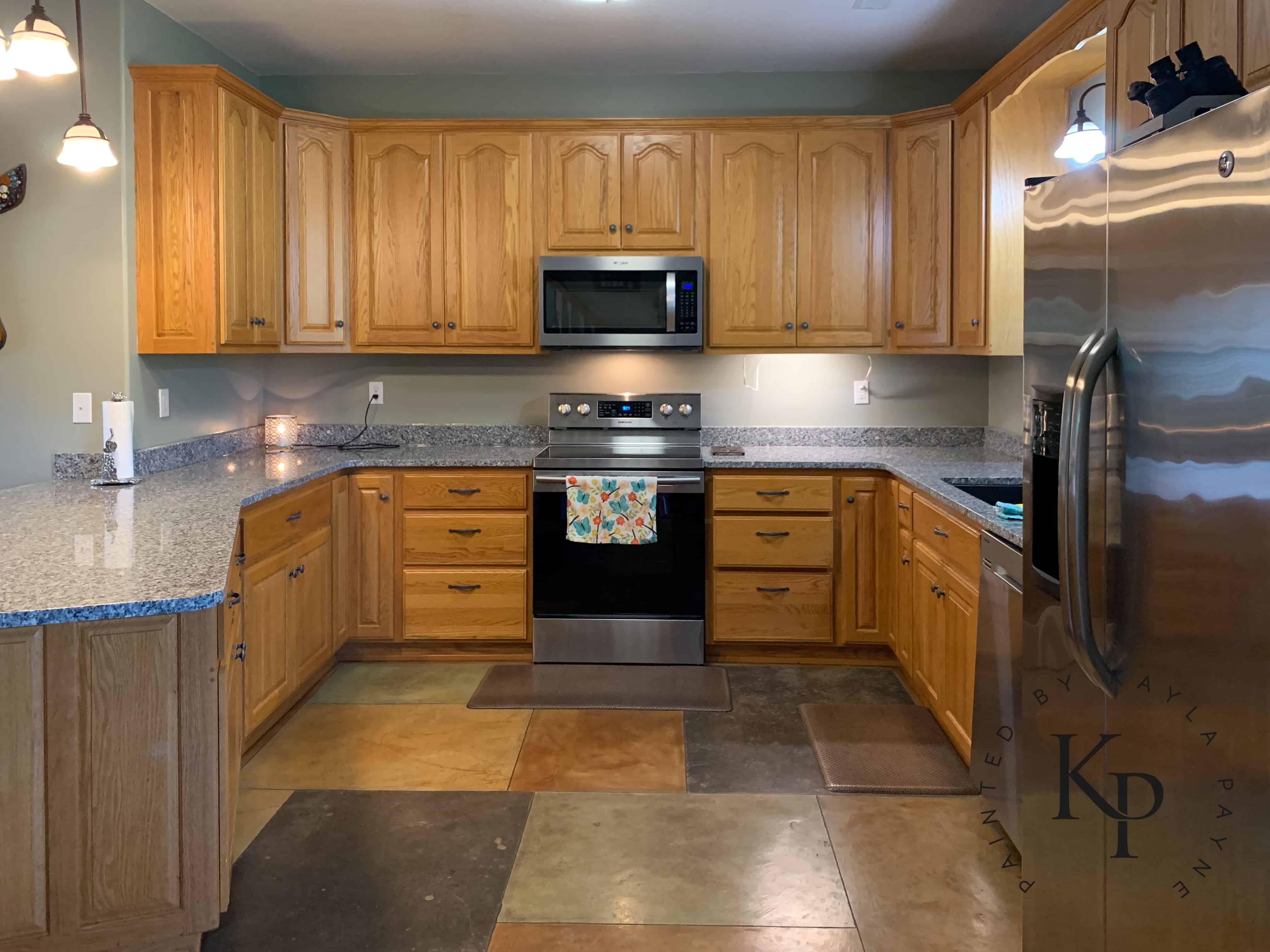 Benjamin Moore Soft Chamois Bye Bye Honey Oak Honey Oak Kitchen Cabinets Oak Kitchen Cabinets How To Paint Oak Painting Kitchen Cabinets Can You Paint Oak Cabinets Can You Paint Wood Cabinets