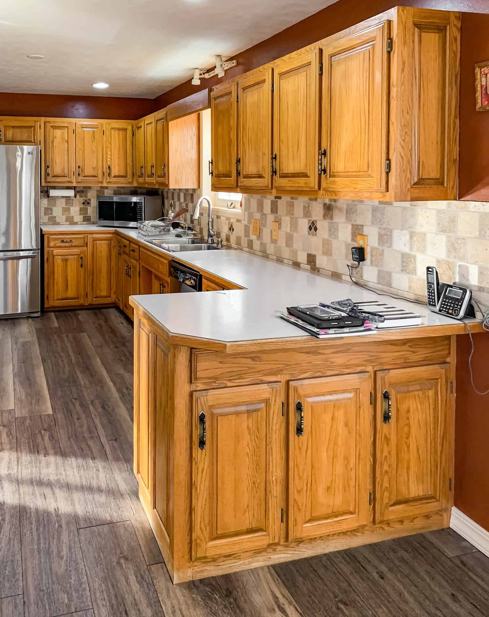 Honey oak kitchen cabinets-02 - Painted by Kayla Payne