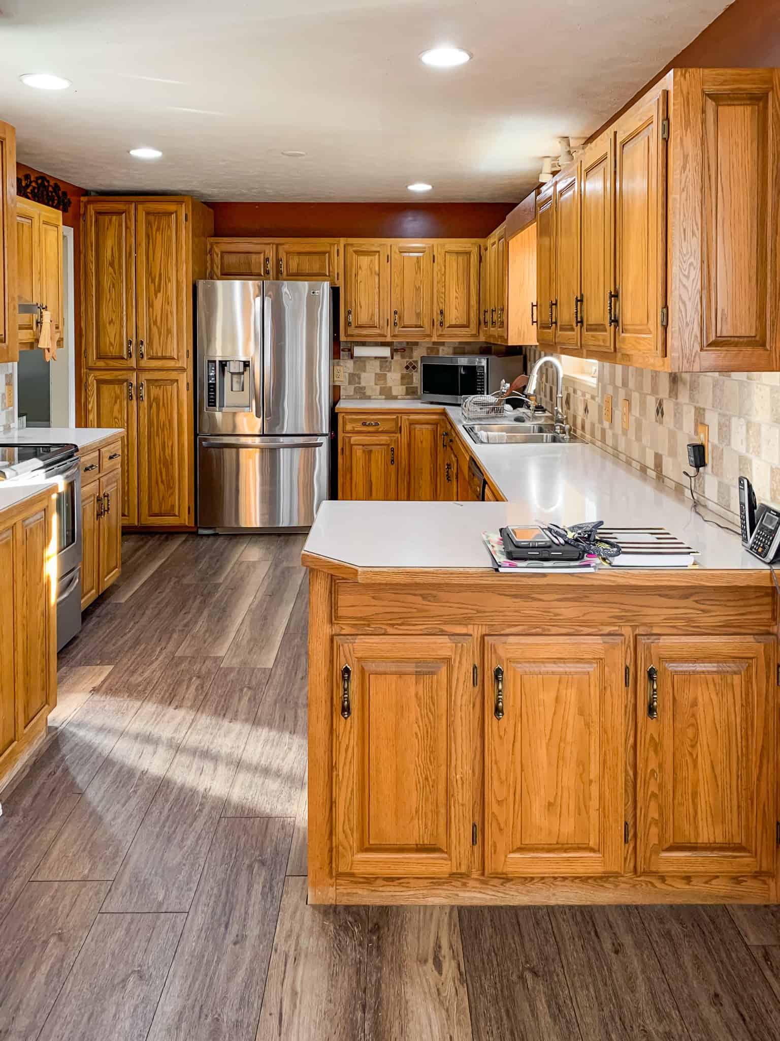 Honey Oak Kitchen Cabinets 03 Painted By Kayla Payne