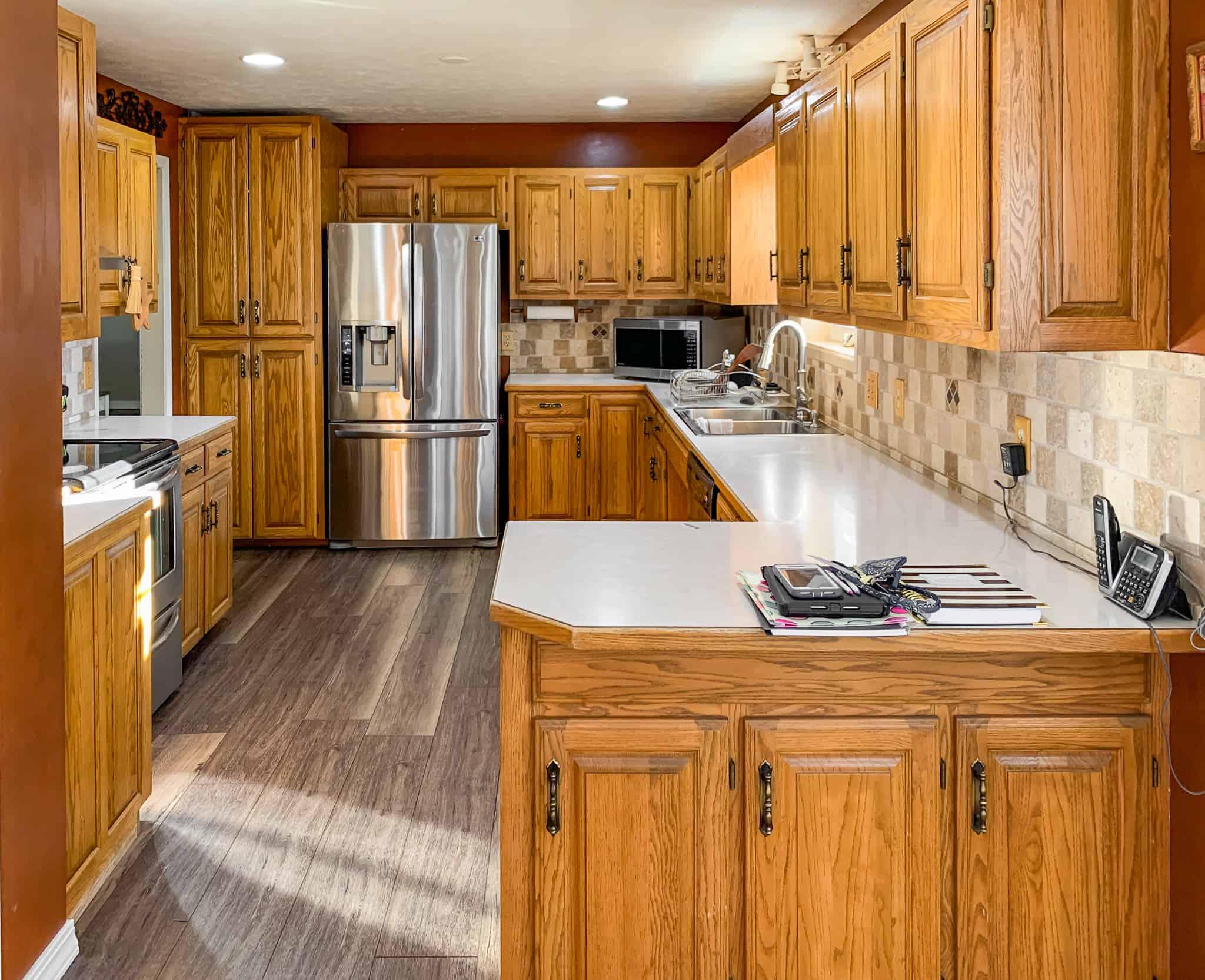Honey oak kitchen cabinets-05 - Painted by Kayla Payne