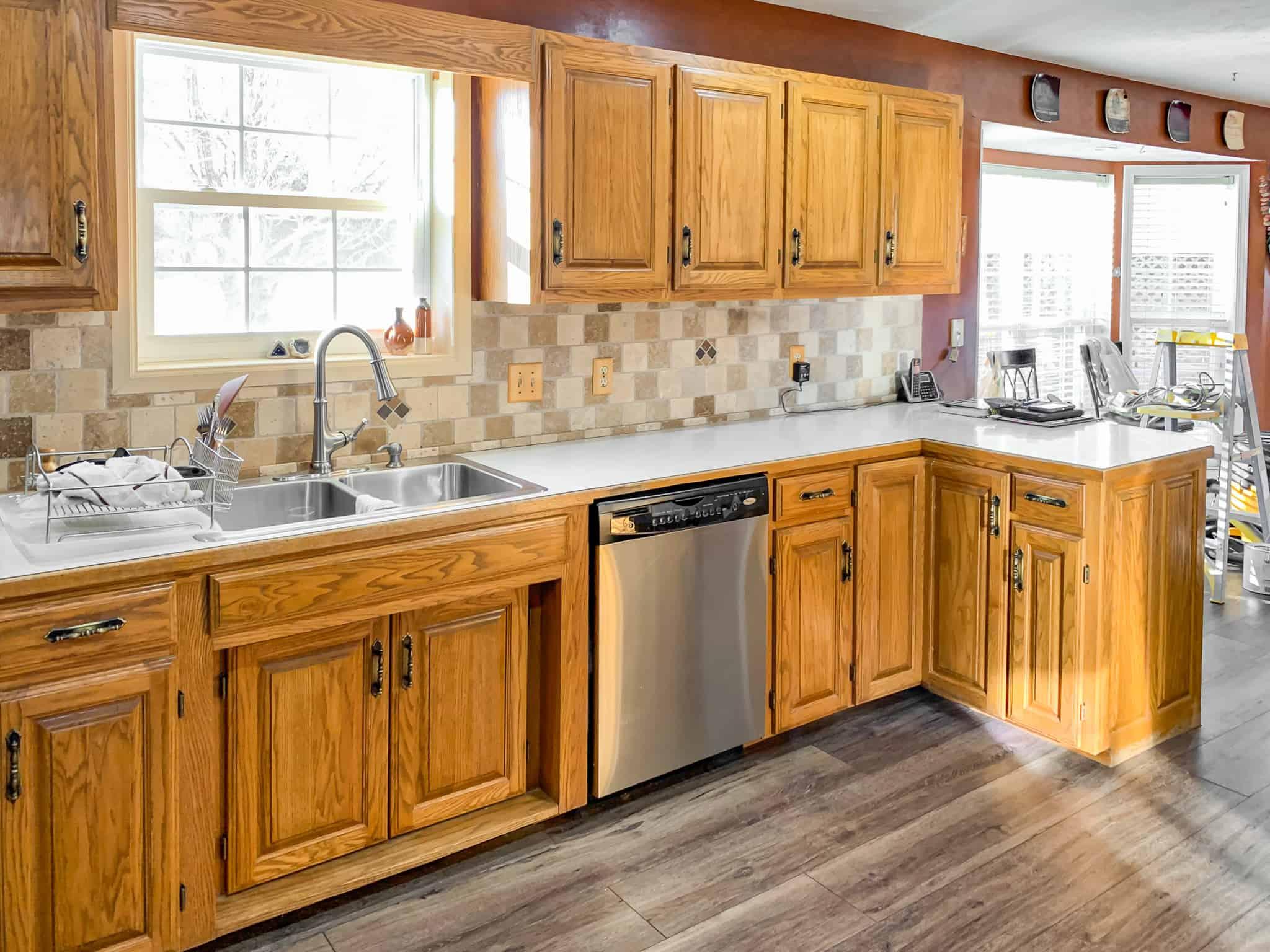 Honey Oak Kitchen Cabinets 06 Painted By Kayla Payne