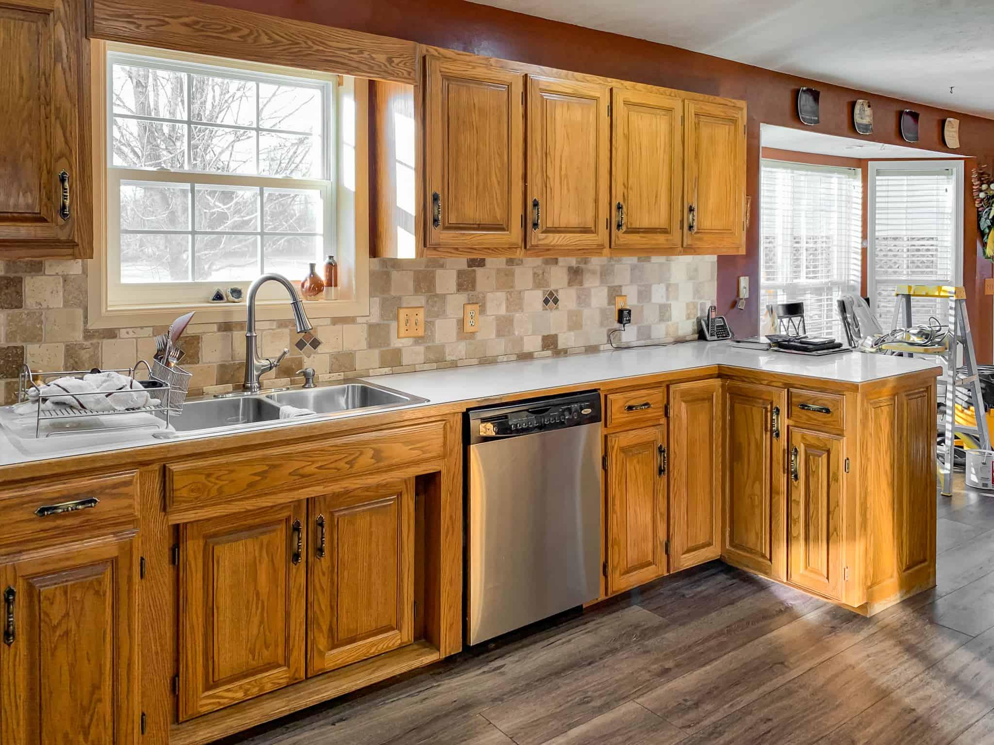 Honey oak kitchen cabinets-07 - Painted by Kayla Payne