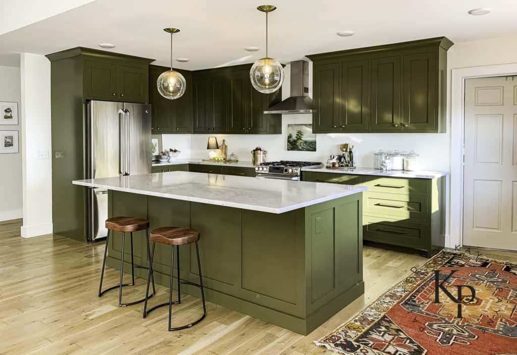 Olive Green Kitchen Cabinets - Painted by Kayla Payne